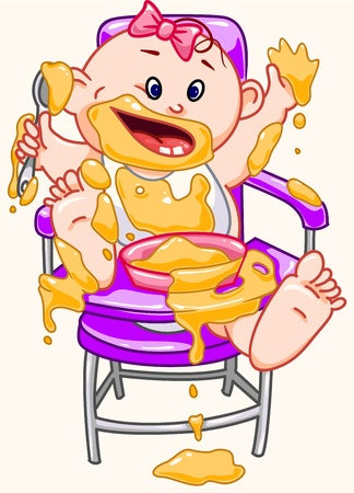 Baby eats. Stock Vector - 16911801