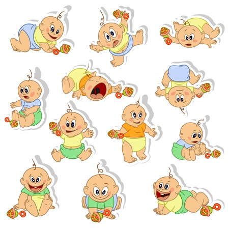 hysterical: Stickers with little baby boys. Vector illustration. Eps 8.