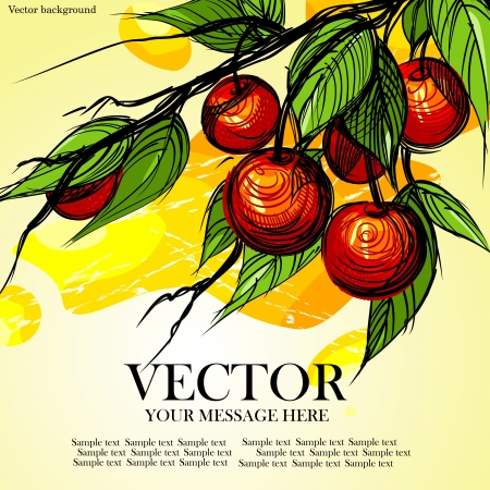 Beautiful delicious cherries, bright berries. Vector illustration. Eps 8. Vector