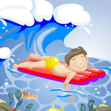 Boy swimming. Vector illustration. Eps 8. Vector