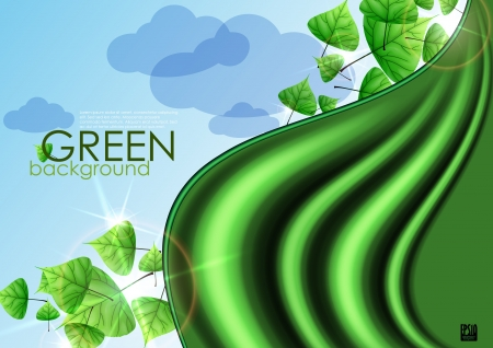 Eco green background with leaves. Vector illustration. Vector