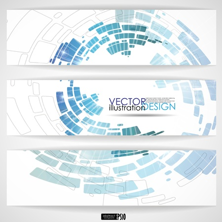 Abstract blue banner. Vector illustration.  Иллюстрация
