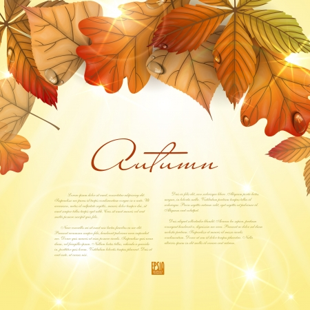 Autumn background with leaves.  Vector illustration. Иллюстрация