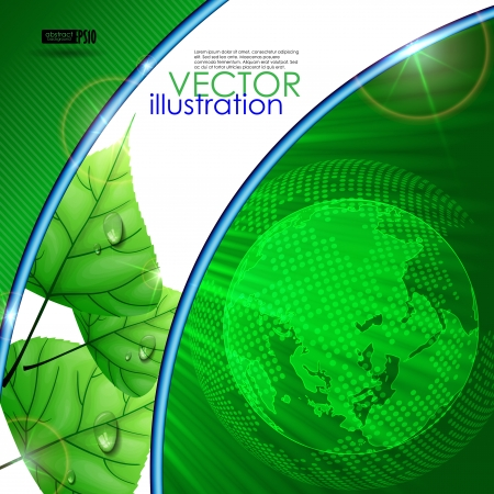 green background: Eco green background with leaves. Vector illustration.  Illustration