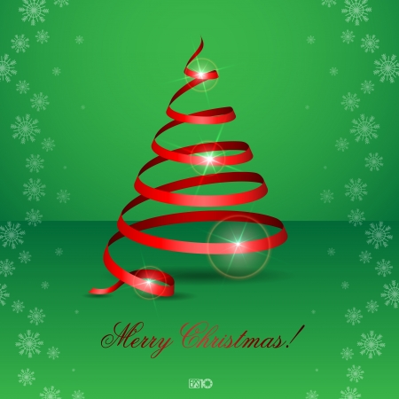 Stylized ribbon Christmas tree. Vector illustration Vector