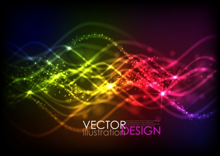 Abstract neon waves.  Vector