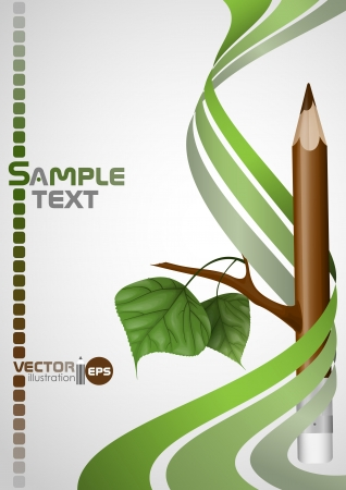 Wooden pencil with leaf. Vector illustration.  Vector