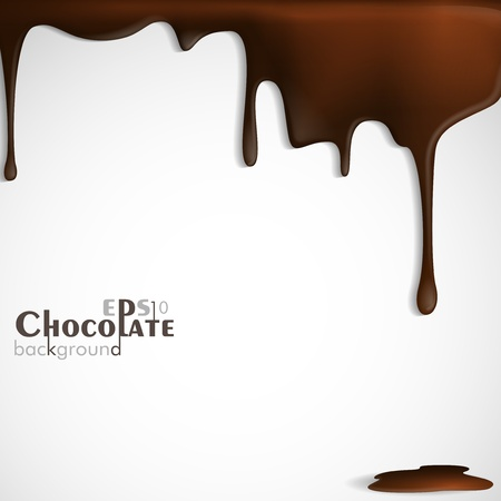 Melted chocolate dripping  Vector illustration