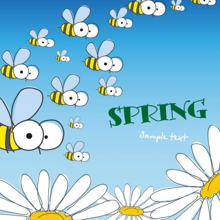 꿀벌 및 데이지. 봄 배경입니다. 벡터 일러스트 레이 션. 일러스트