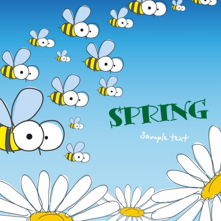 Bee and daisy. Spring background. Vector illustration.  Иллюстрация