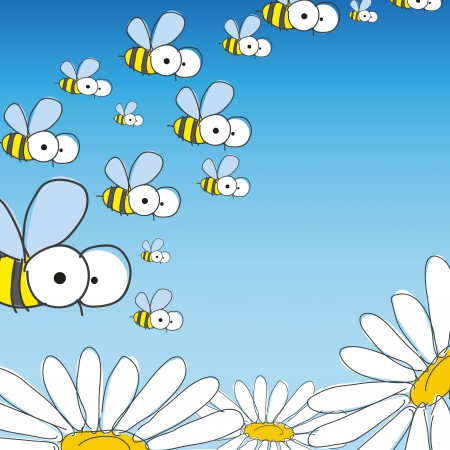 Bee and daisy. Spring background.  photo