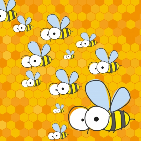 Bees and honeycomb.  Vector