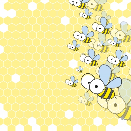 Bees and honeycomb. Spring background.  photo