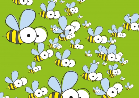 Green background with bees  Vector illustration   Vector