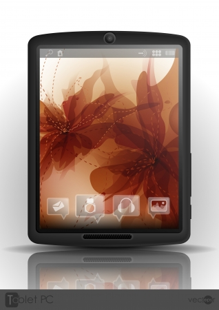 Tablet Computer with flower background. Vector illustration.  Vector