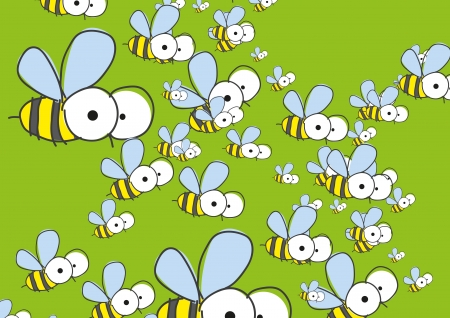 Green background with bees   photo