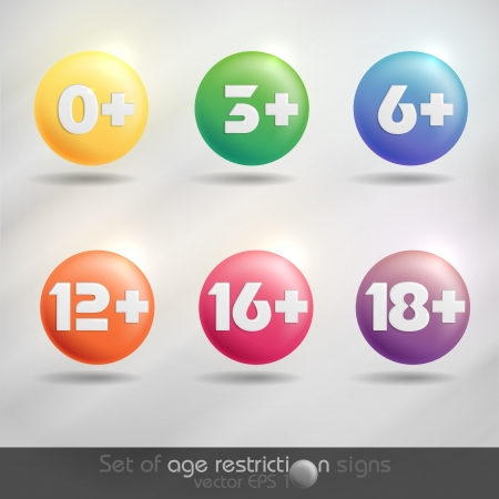 six year old: Set of age restriction signs   Vector illustration