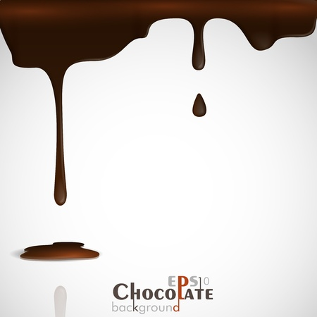 melting chocolate: Melted chocolate dripping  Vector illustration