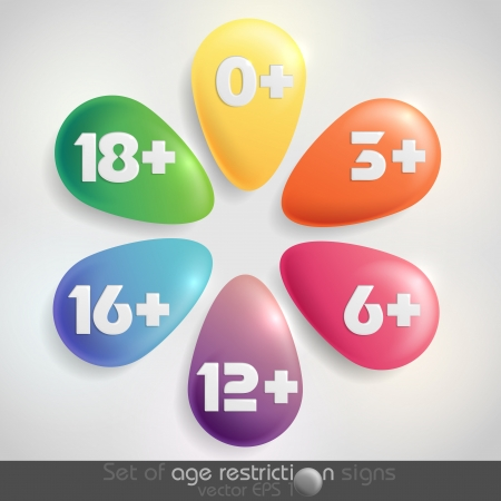 six objects: Set of age restriction signs   Vector illustration  Illustration