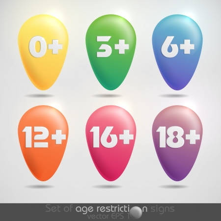 Set of age restriction signs   Vector illustration   Stock Vector - 20992667