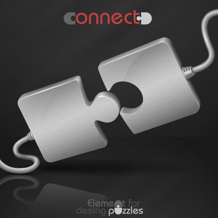 Metal Puzzle. Connect. Vector Illustration. Eps 10.