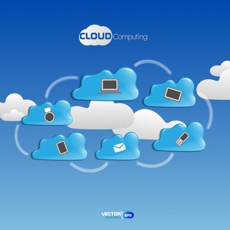 Cloud Computing Concept. Vector Illustration. Eps 10. Vector