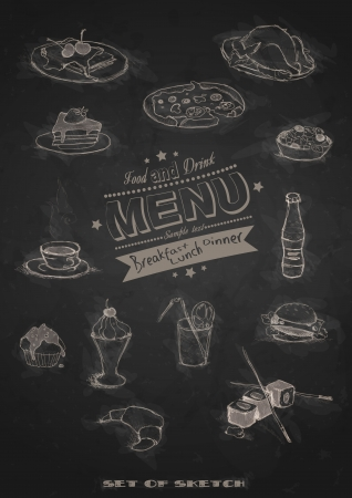 Design Elements For The Menu On The Chalkboard. Vector Illustration. Eps 10. Vector