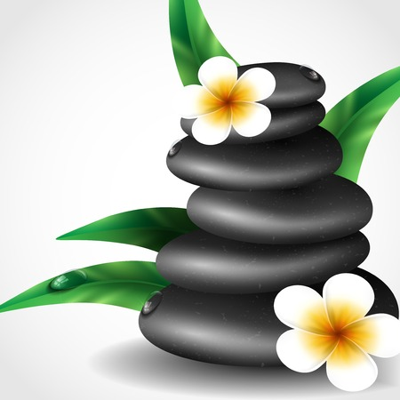 Spa Stones With Frangipani Flower.  For Vector Version, See My Portfolio. photo