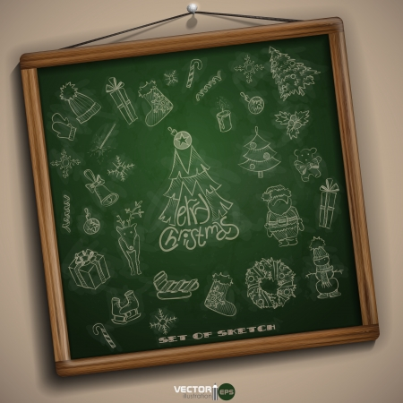 Hand Drawn Christmas Set. Christmas And New Year Symbols. Vector Illustration. Eps 10 Vector