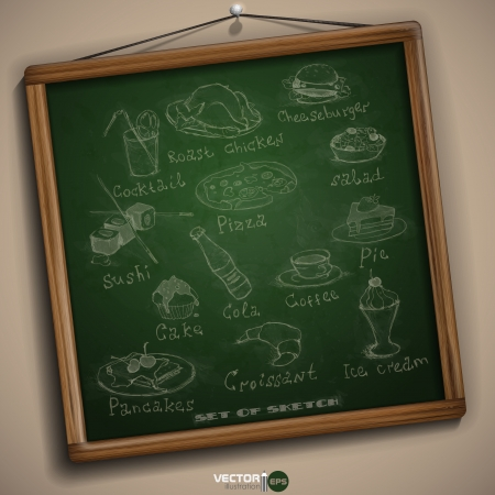Set of Hand Drawn Various Elements On A Green Chalkboard. Vector Illustration. Eps 10. Vector