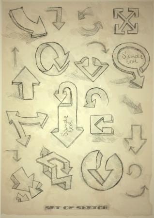 Set Of Hand Drawn Doodle Arrows On Old Vintage Paper . Vector Illustration. Eps 10. Vector