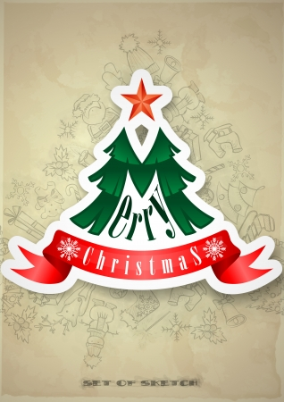 Christmas Sticker. Christmas And New Year Symbols. Vector Illustration. Eps 10 Vector