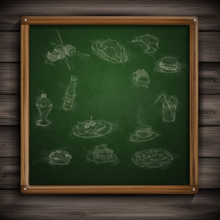 Set of Hand Drawn Various Elements On A Green Chalkboard. photo