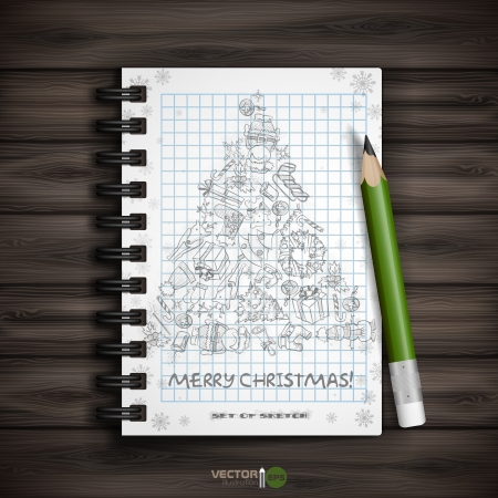 Hand Drawn Christmas Set. Christmas And New Year Symbols. Vector Illustration.  Vector