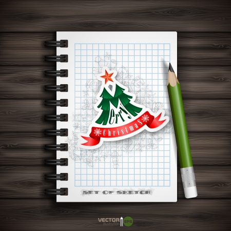 Christmas Sticker. Christmas And New Year Symbols. Vector Illustration.  Vector