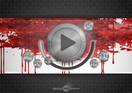 Abstract Technology App Icon With Music Button. Vector Illustration. Vector