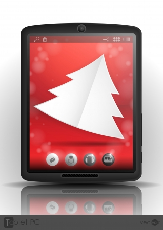 Tablet Pc & Mobile Phone. Christmas And New Year Symbols. Vector Illustration. Eps 10. Vector