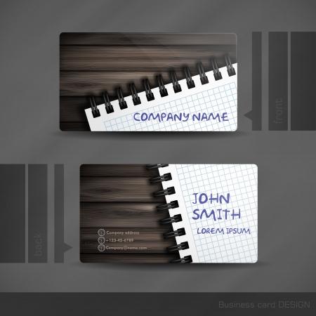 visitekaartje: Business Card Ontwerp Met houtstructuur. Vector Illustratie. Eps 10.
