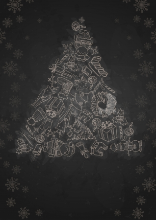 Hand Drawn Christmas Set. Christmas And New Year Symbols. photo