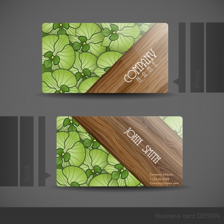 Business card design with wood texture vector illustration royalty 25242903 business card design reheart Images