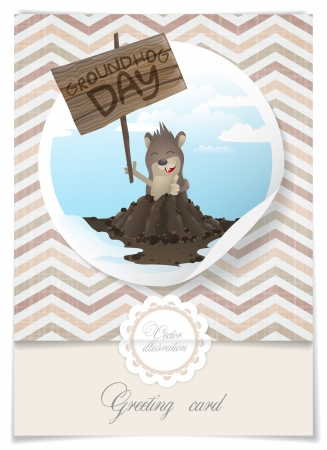 Greeting Card Design, Template. Happy Groundhog Day.   Vector