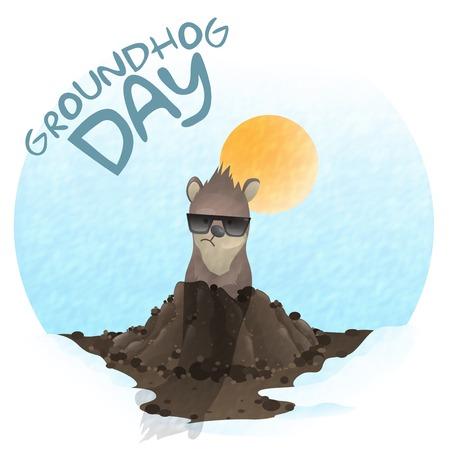Happy Groundhog Day.   Vector