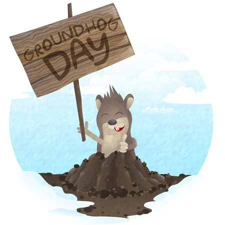 Happy Groundhog Day.  Vector Illustration. Vector