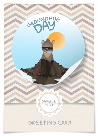 marmot: Greeting Card Design, Template. Happy Groundhog Day.  Vector Illustration.