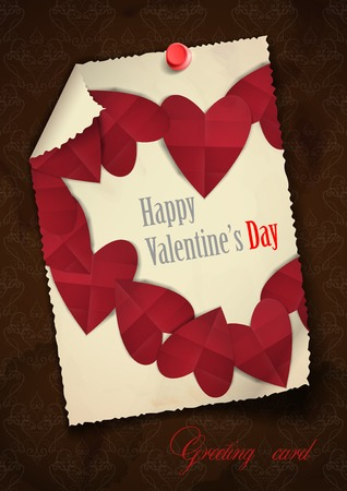 Greeting Card Design, Template. Happy Valentines Day.   Vector