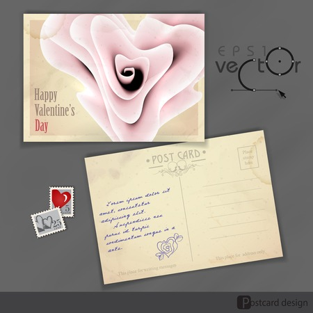 old postcard: Old Postcard Design, Template. Happy Valentines Day.