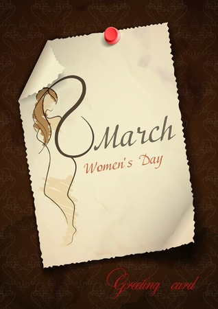 march 8: Greeting Card Design, Template. Happy Womens Day, March 8. Vector Illustration. Eps 10.