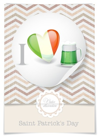 Greeting Card Design, Template. St. Patrick's Day. I Love Beer.  Vector