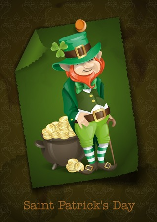 Greeting Card Design, Template. St. Patricks Day. Leprechaun With Pot Of Gold.  Vector