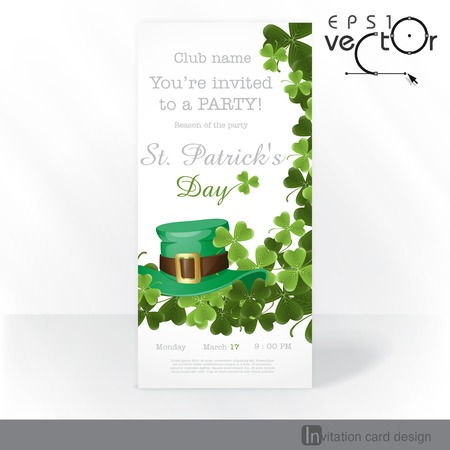 St. Patricks Day Background With Leprechaun Hat And Clover. Party Invitation Card Design, Template.  Vector